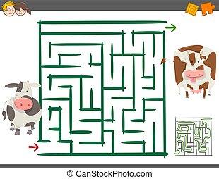 mucche, labirinto, gioco, ozio