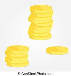 mucchi, monete, tre, oro