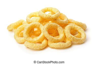 mucchio, anelli, cipolla, croccante