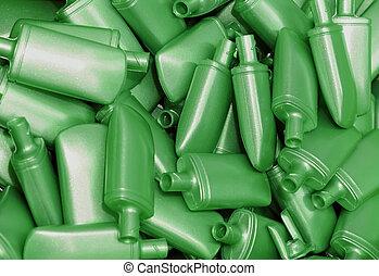 mucchio, bottiglie, plastica, verde