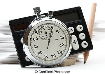 mucchio, di, carta, cartelle, calcolatore, e, cronometro