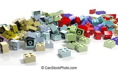 mucchio, di, lego, blocchi, isolato, bianco, fondo