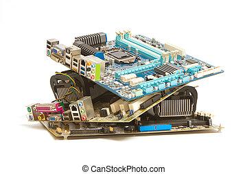 mucchio, di, mainboard, computer