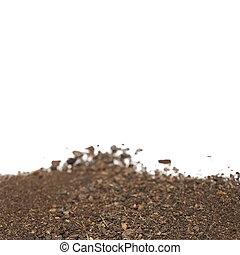 mucchio, di, suolo, isolato, bianco