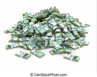 mucchio, euro., soldi., pacchi