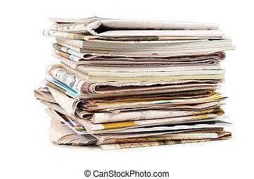 mucchio, giornali, vecchio, pubblicazione periodica