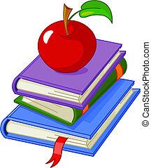 mucchio, libro, con, mela rossa