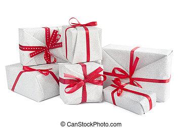 mucchio, natale, isolato, regali