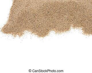 mucchio, sabbia, isolato, bianco