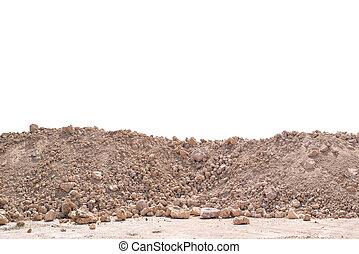 mucchio, suolo, o, sporcizia, isolato, bianco, fondo