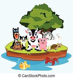 Much animals on island