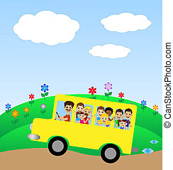 much little child in yellow bus, vector illustration