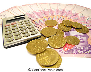 Much money - Background of different banknotes, coins and...