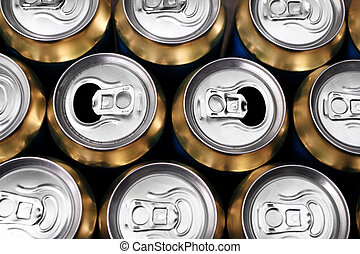 Much of drinking cans - Much of yellow drinking cans close...