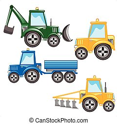 Much tractors on white background is insulated
