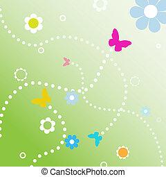 mucha, ścieżki, kropkowany, wiosna, bubutterflies, kreska, ...