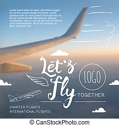 mucha, let's, airline, graficzny, afisz