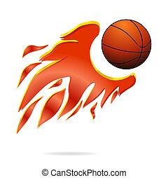 mucha, piłka, ogień, symbol, farbować pomarańczę, sport