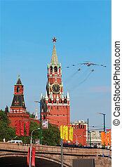 mucha, skwer, spasskaya, może, samoloty, moskwa, -, o, 9:, wieża, na, czerwony
