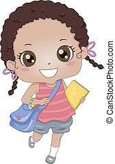 muchacha de la escuela, african - american