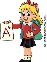 muchacha de la escuela, con, ventaja, grado, tema, 1