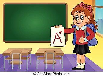 muchacha de la escuela, con, ventaja, grado, tema, 3