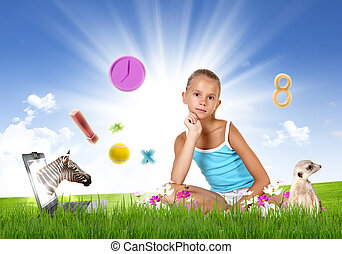 muchacha de la escuela, y, educación, objetos, y, símbolos