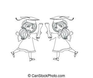 muchacha que sonríe, celebrar, día de graduación, tenencia, diploma, en, ella, h