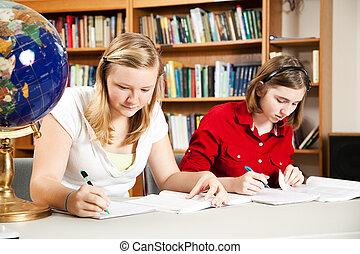 muchachas adolescentes, estudiar, en, escuela
