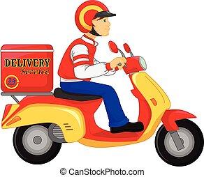 muchacho de la entrega, motocicleta, paseo