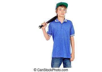 muchacho, murciélago, beisball
