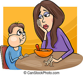 muchacho pobre, comedor, mamá, caricatura