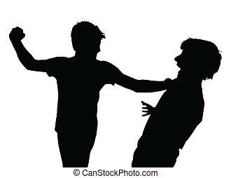 muchachos adolescentes, silueta, pelea a puñetazos