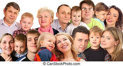muchas caras, familia , con, niños, collage