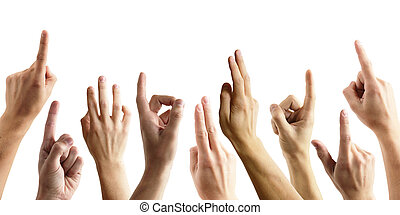 muchas manos, aumento, arriba