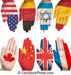 muchas manos, con, diferente, país, banderas