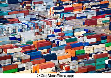 mucho, de, envío, contenedores