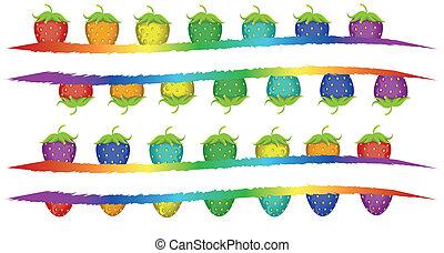 muchos, banderas, coloreado, fresa