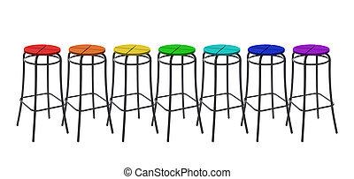 muchos, barra, sillas, en, colores, de, arco irirs, collage