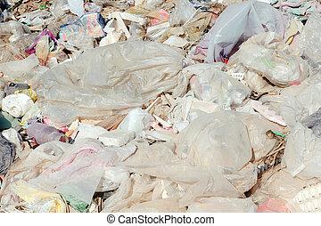 muchos, basura, bolsas de plástico