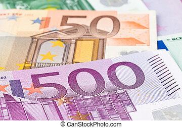 muchos, billetes de banco de euro
