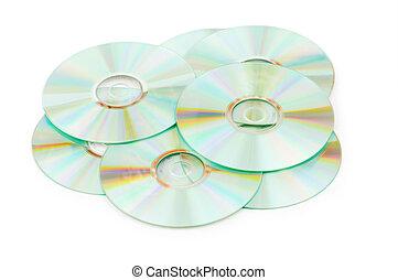muchos, blanco, aislado, plano de fondo, cds