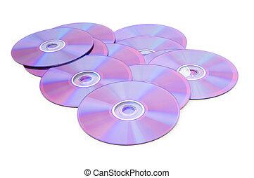 muchos, blanco, aislado, plano de fondo, dvd\'s