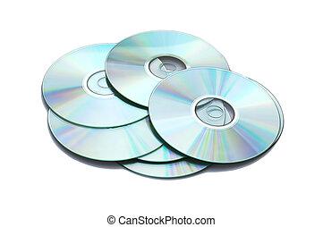 muchos, blanco, cd\'s, aislado, plano de fondo