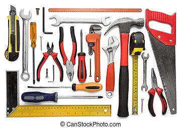Muchos, blanco, herramientas, aislado, Plano de fondo