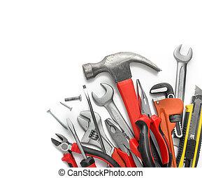 Muchos, blanco, herramientas, Plano de fondo