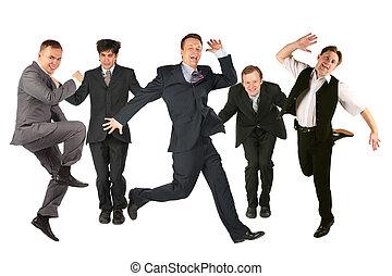 muchos, blanco, hombres, saltar