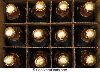 muchos, botellas, de, champaña