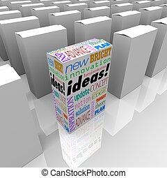 muchos, cajas, de, ideas, -, uno, diferente, producto, caja, estantes, afuera