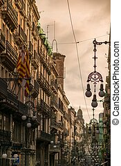 muchos, calle, barcelona, farolas
